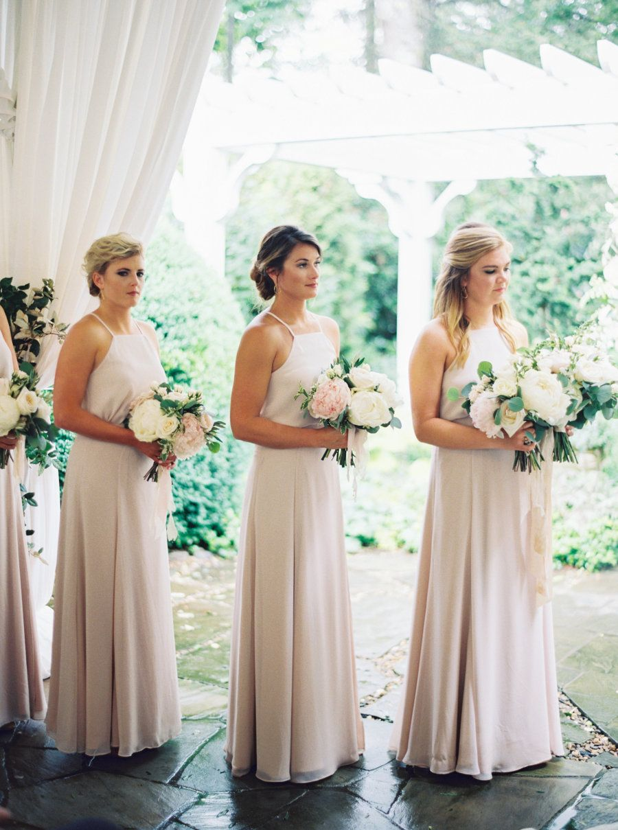Flowers galore a bespoke bridal gown wedding weddings and bridesmaid pictures neutral halter top bridesmaids dresses ombrellifo Images