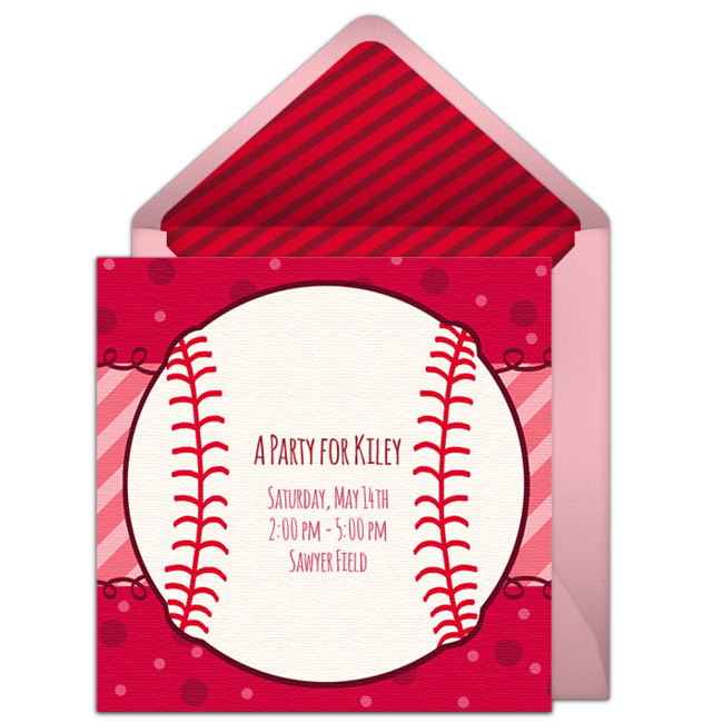 Free Birthday Party Invitation With A Softball Inspired Design Love This For Girls Easily Personalize And Send Online To