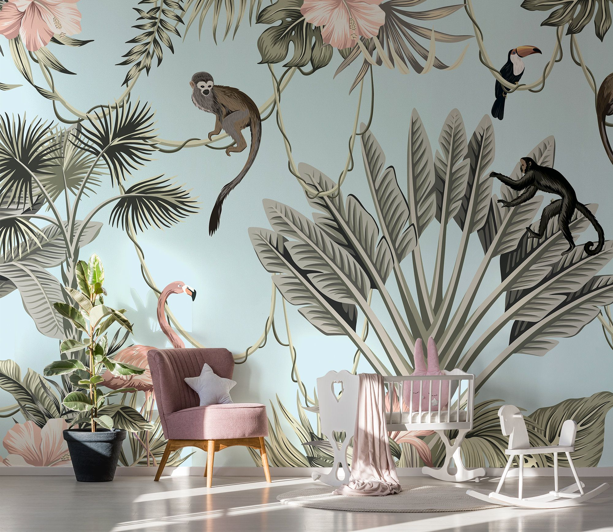 Paradise Wall Mural For Nursery Peel And Stick Wallpaper Etsy Tropical Wallpaper Peel And Stick Wallpaper Forest Wall Mural