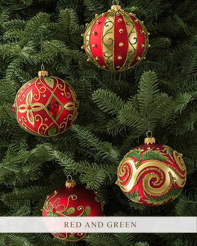 Decorating Glass Ball Ornaments Set Of 4 Decorated Glass Ball Ornaments  Balsam Hill  Christmas