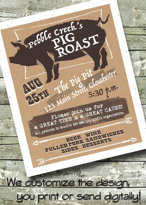 Bbq Pig Roast Fundraiser Neighborhood Block Party 5x7 Invite
