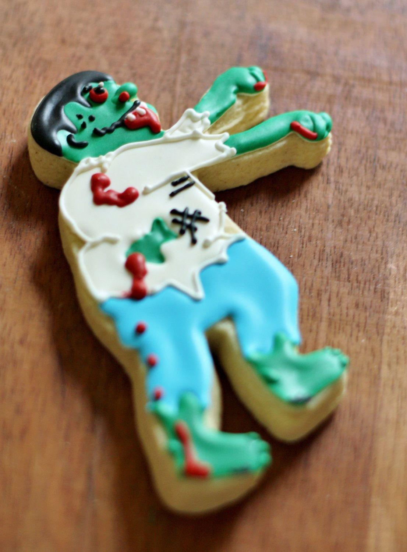 Monster Halloween Cookies: Zombie Monster Decorated Sugar Cookies