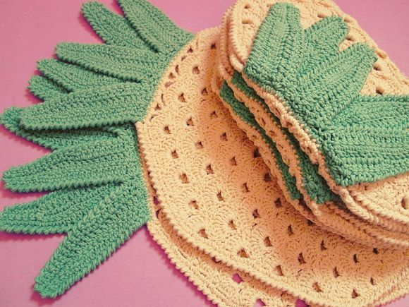 #abacaxi #pineapple #jogoamrericano #placemat #crochê #crochet #delicadezaretro #taniapaschoal