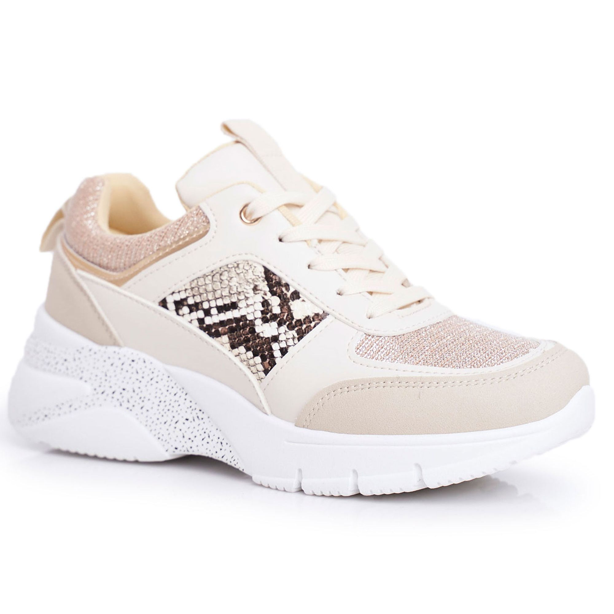 Sportowe Damskie Buty Bezowe Brokat Lisbon Bezowy Shoes Puma Sneaker Sneakers