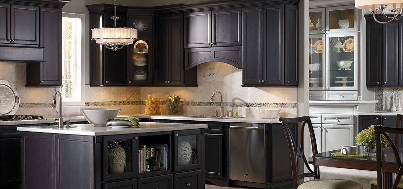 Kitchen modern white color kitchen combined with black for Thomasville kitchen cabinets