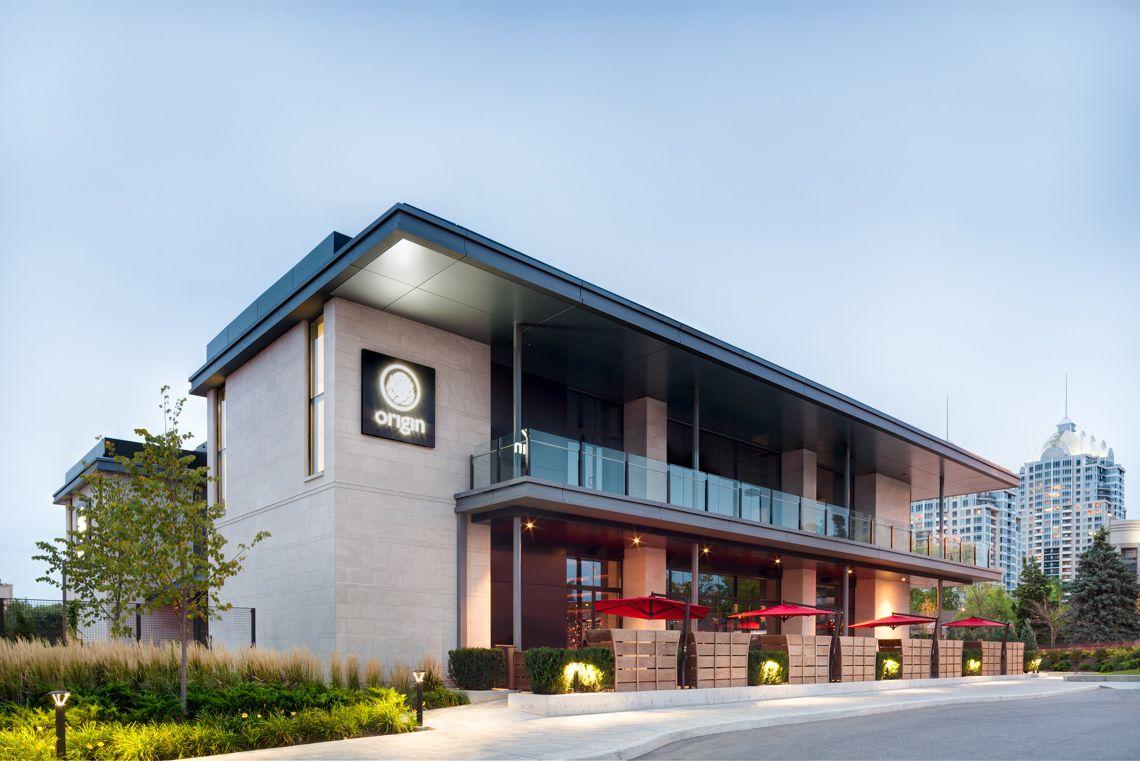 origin north, bayview village mall, limestone, zinc, ipe wood