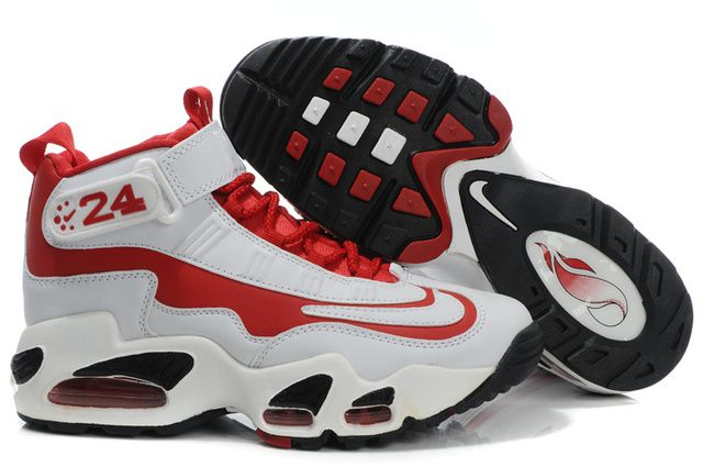 new product 2a690 55d90 Womens White Red Black Nike Air Max Griffey Shoes 364644
