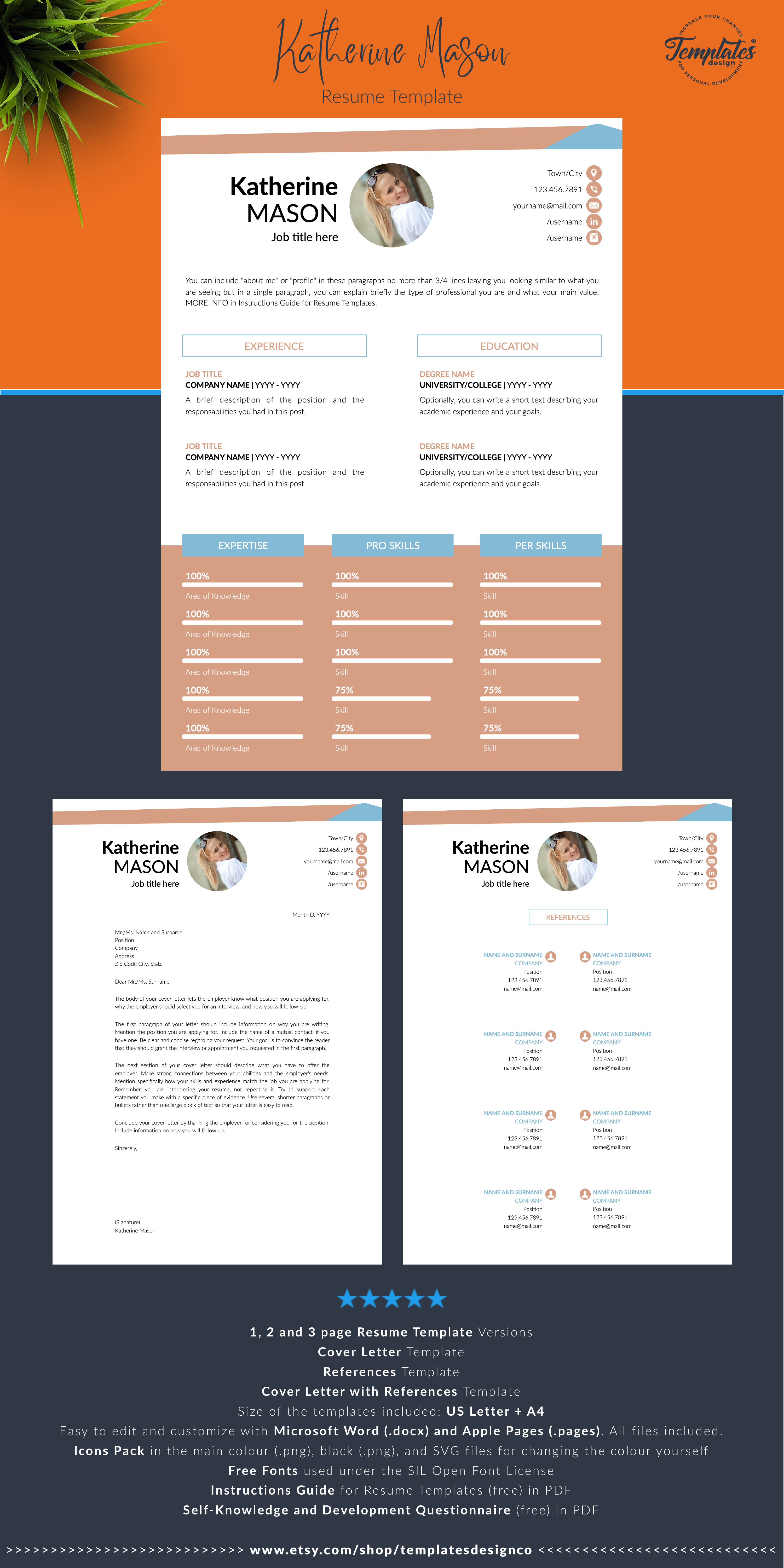 Original Cv Template Creative Resume Professional And Etsy Creative Resume Reference Letter Template Cv Template