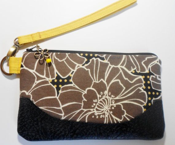 Floral leather and fabric wristlet