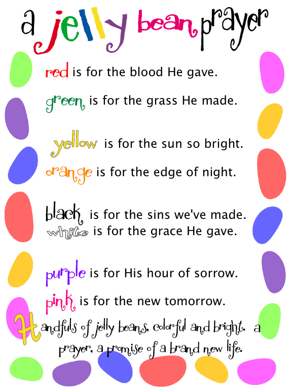 Displaying jelly bean prayerg christian ladies group ideas sunday school craft for easter layer a few of each color of jelly beans in a small lidded container and tie on a copy of the poem negle Choice Image