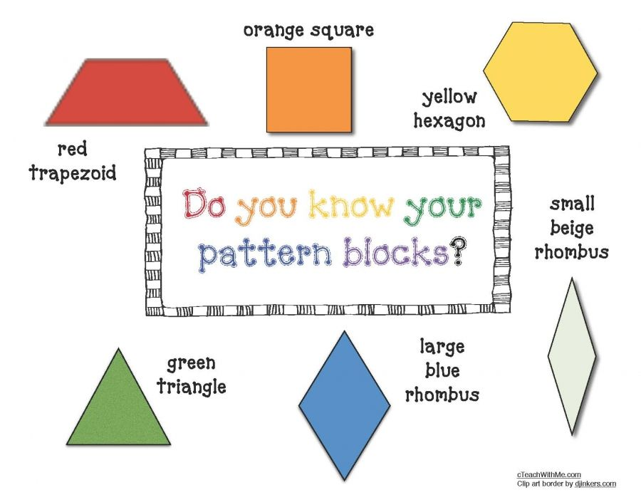 Pattern Block Anchor Chart Poster math Pinterest Pattern - pattern block template