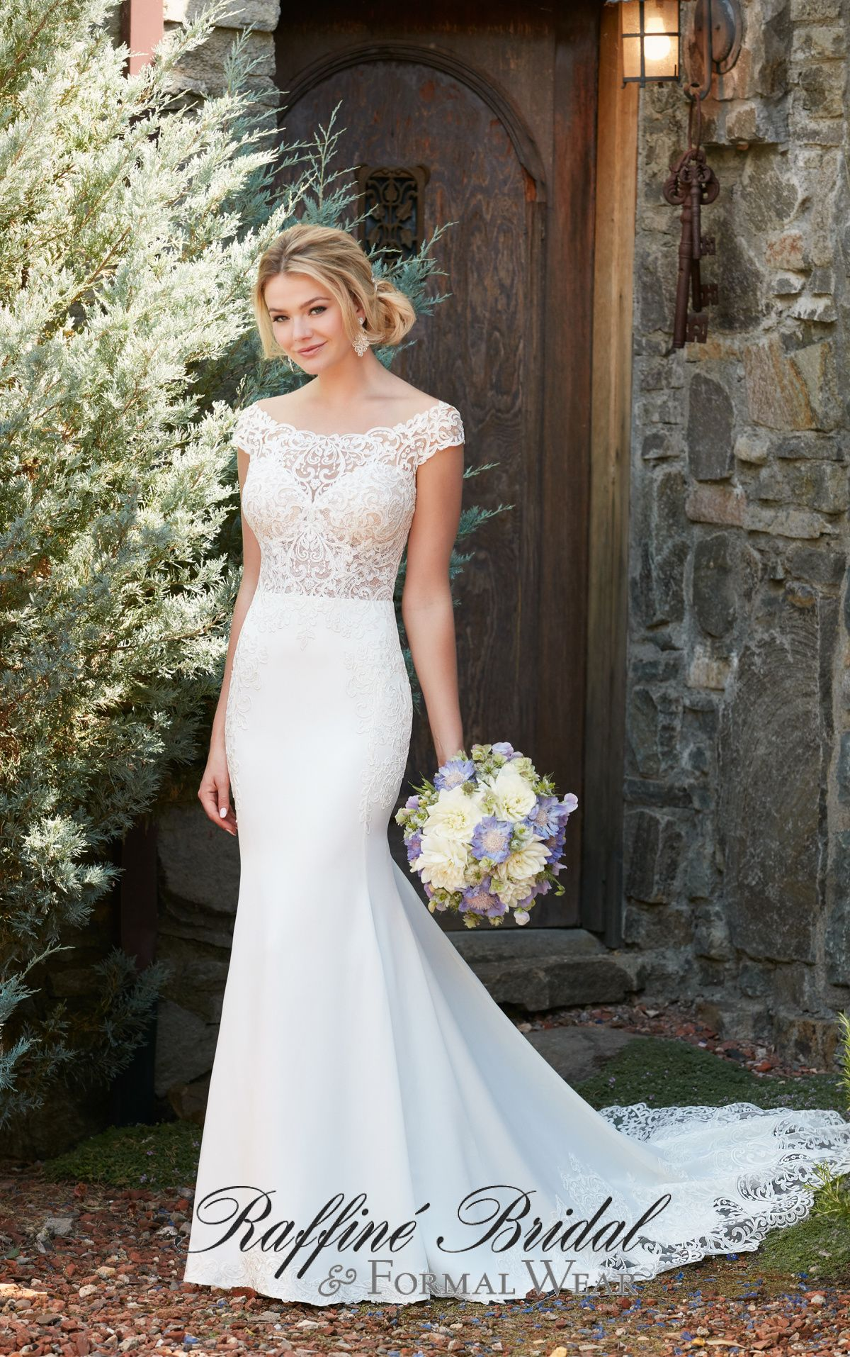 Essense of Australia #D2298 - This off the shoulder crepe gown from ...