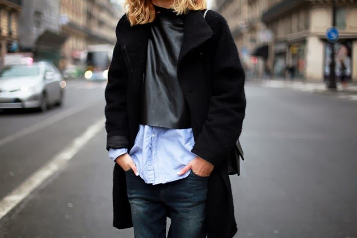 black cropped leather and blue shirt