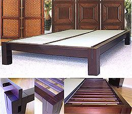 Tall Tatami Platform Bed Frame In Dark Walnut With 15in