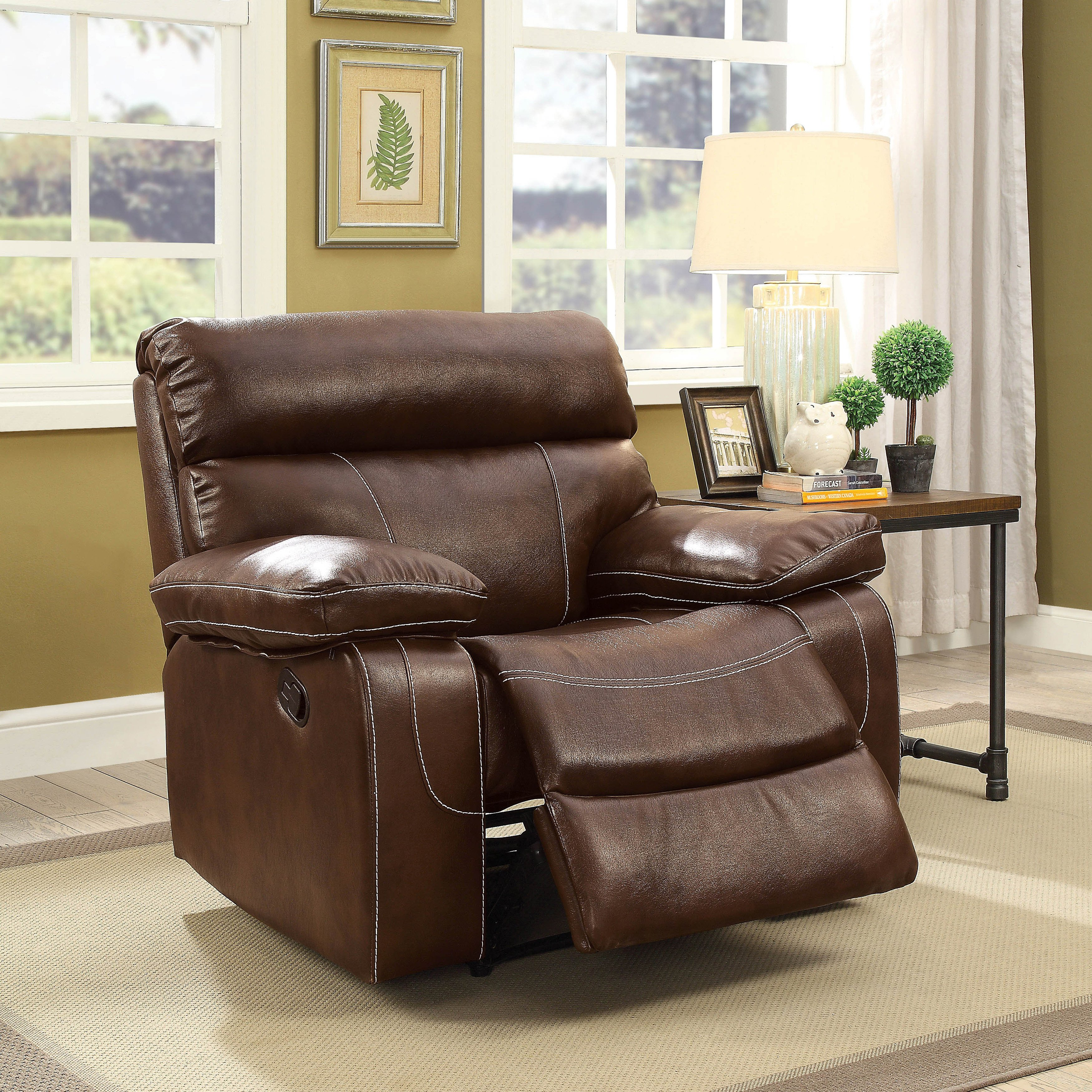 Furniture Of America Bowen Brown Leatherette Recliner Chair Faux