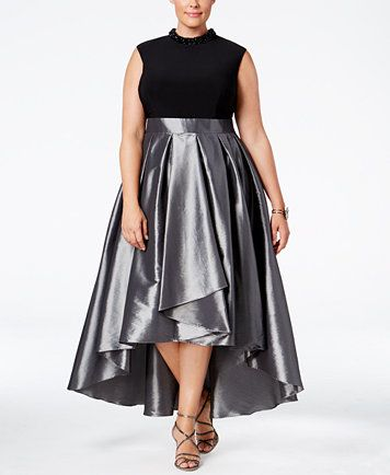 SL Fashions Plus Size Satin High-Low Gown | macys.com ...