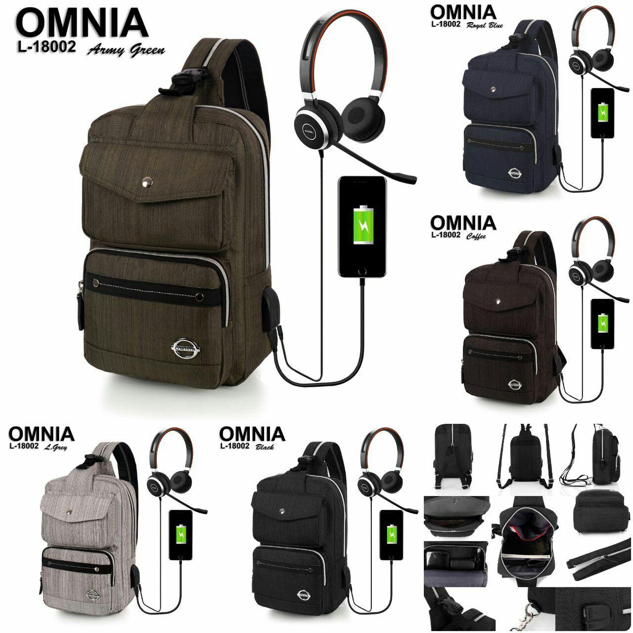 Smart Sling Bag Omnia L 18002 Multi Fungsi Material Nylon Polyster Tas Kulit 2 Backpack Quality Original Brand Dilengkapi Data Usb Dan Ear Phone 600 Gram 23x15x33 5 Wrn