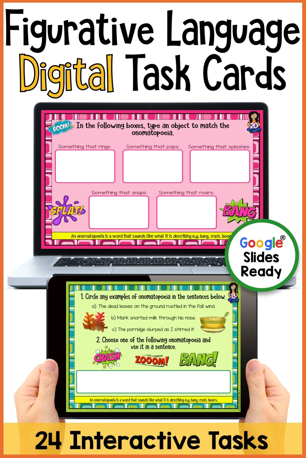 Figurative Language Digital Task Cards Paperless