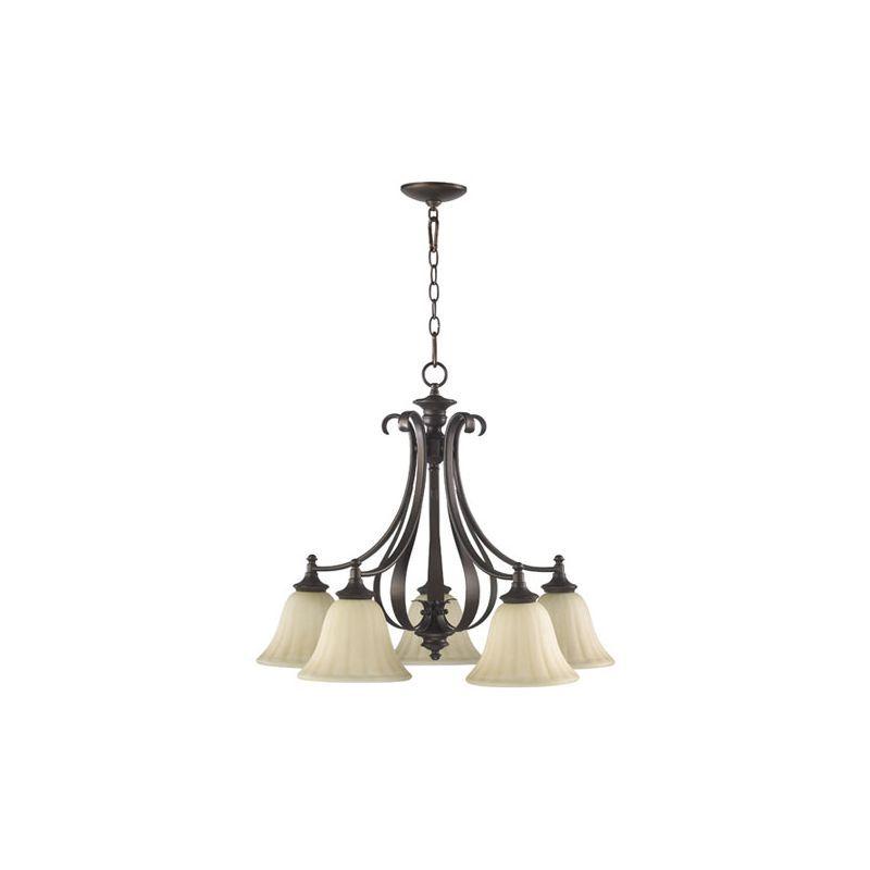 Quorum International 6394-5 Randolph 5 Light 1 Tier Down Lighting Chandelier Oiled Bronze Indoor Lighting Chandeliers