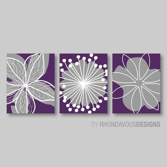 Purple Flower Print Trio Home Petals Bloom Wall Art Bedroom Nursery Bathroom Bath Dining You Pick The Size Colors Ns 349 Purple Wall Art Bedroom Wall Art Purple Walls