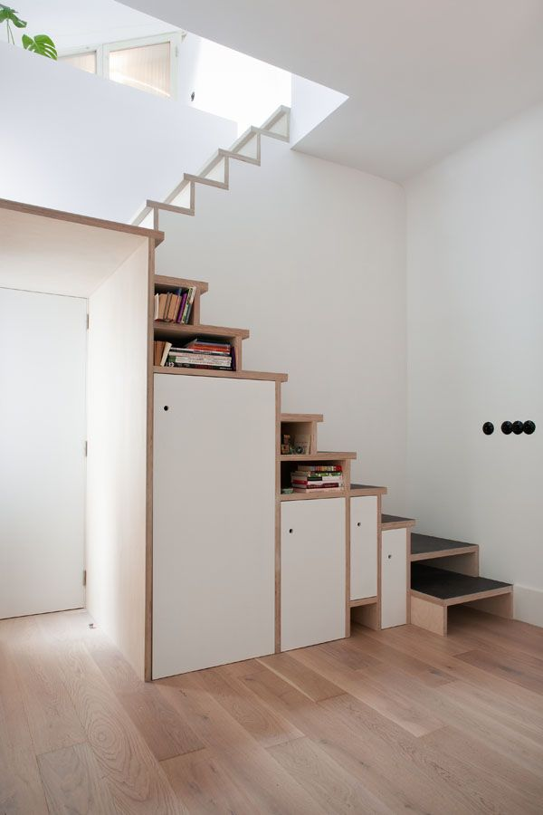 space saving stair storage design in plywood home stairs on garage organization ideas that will save you space keeping things simple id=68079