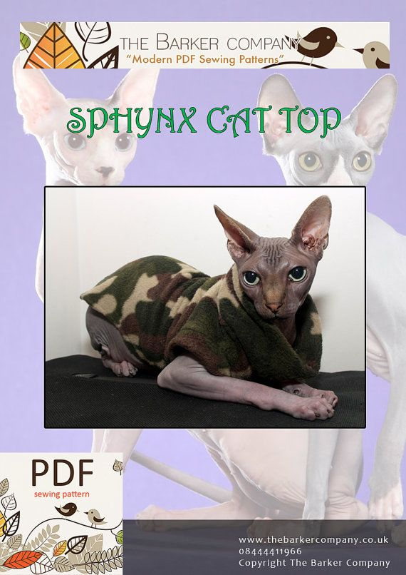 PDF Medium Cat Top Sewing Pattern for Sphynx & by TheBarkerCompany ...