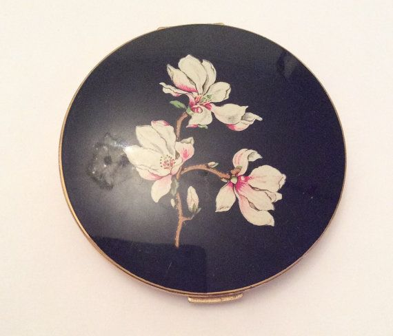 Stratton Compact Blossom Black Vintage Collectible by OurBoudoir