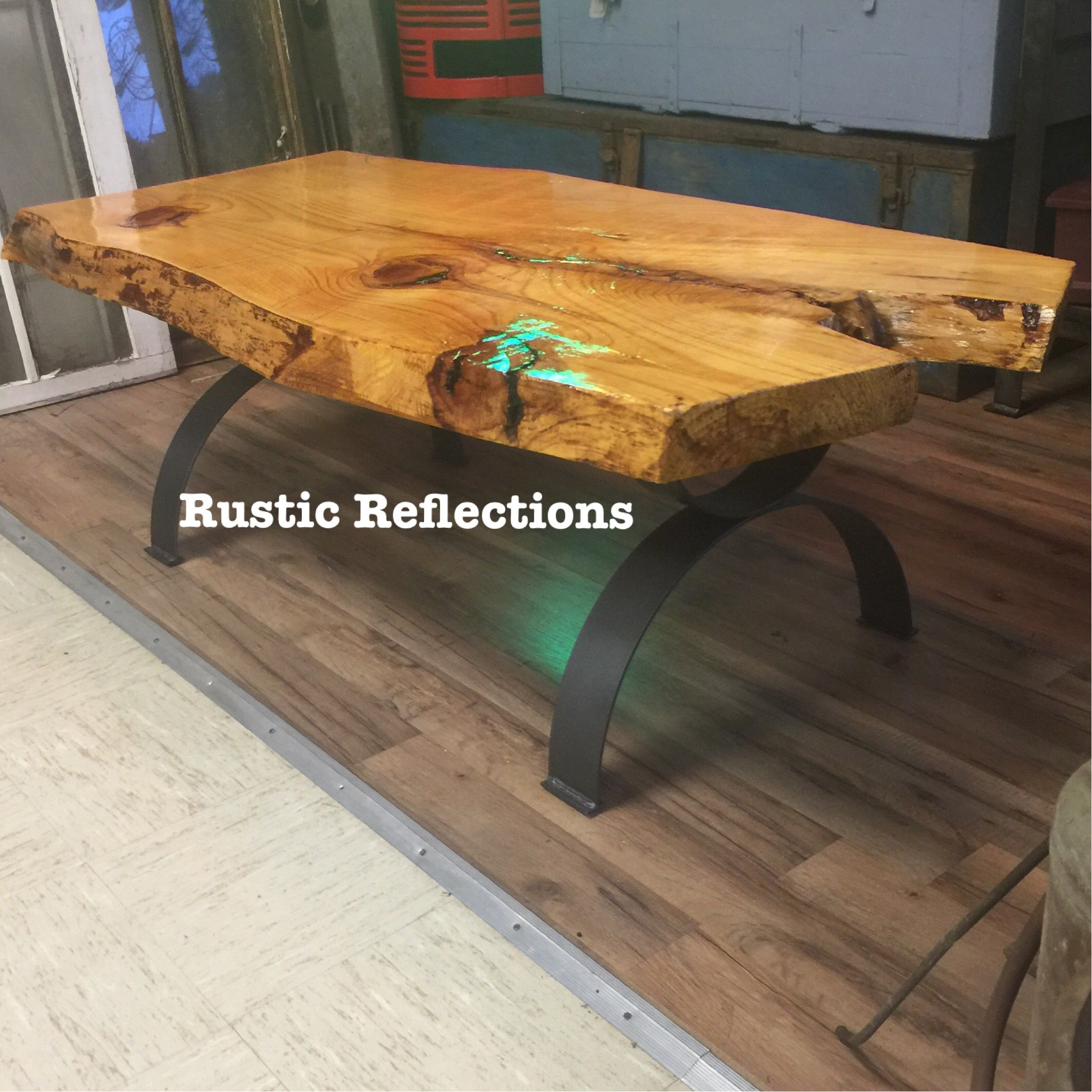 Custom built live edge coffee table built by Rustic Reflections in Cartersville Ga