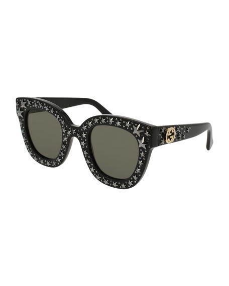 9a2b061429a GUCCI Square Swarvoski® Star Sunglasses