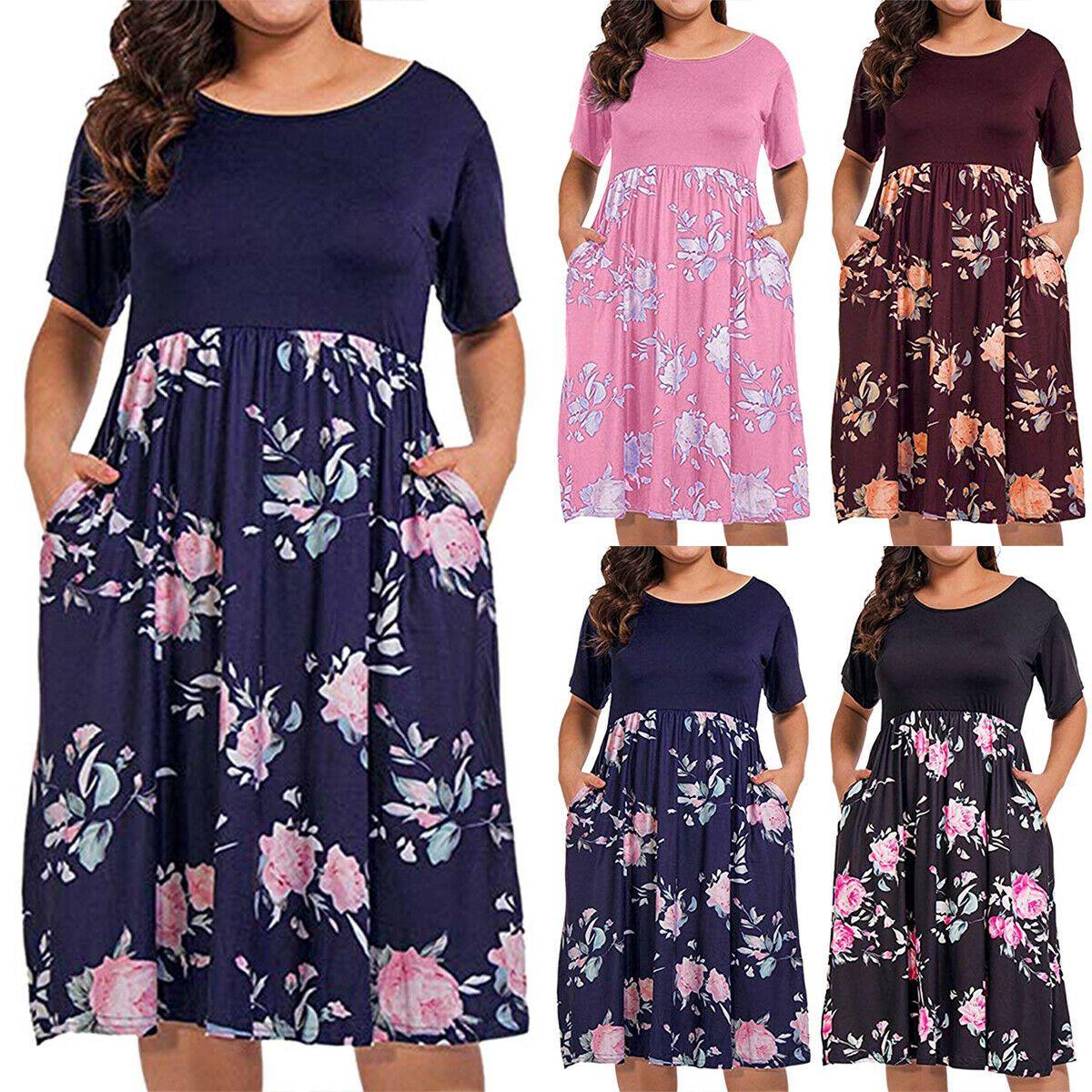 Damen Kurzarm Blumen Kleid Sommerkleid Tunikakleid Patchwork