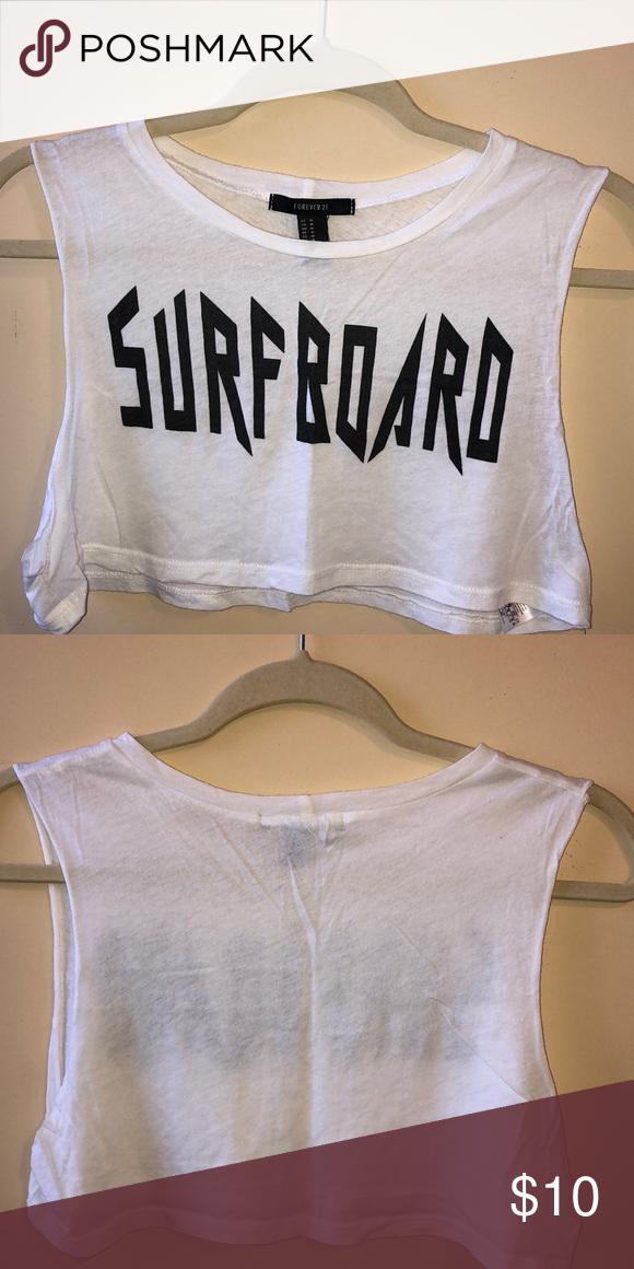 "4bdd969ccb SURFBOARD CROP TOP ""Surfboard"" white extra short (underboob) crop top - T"