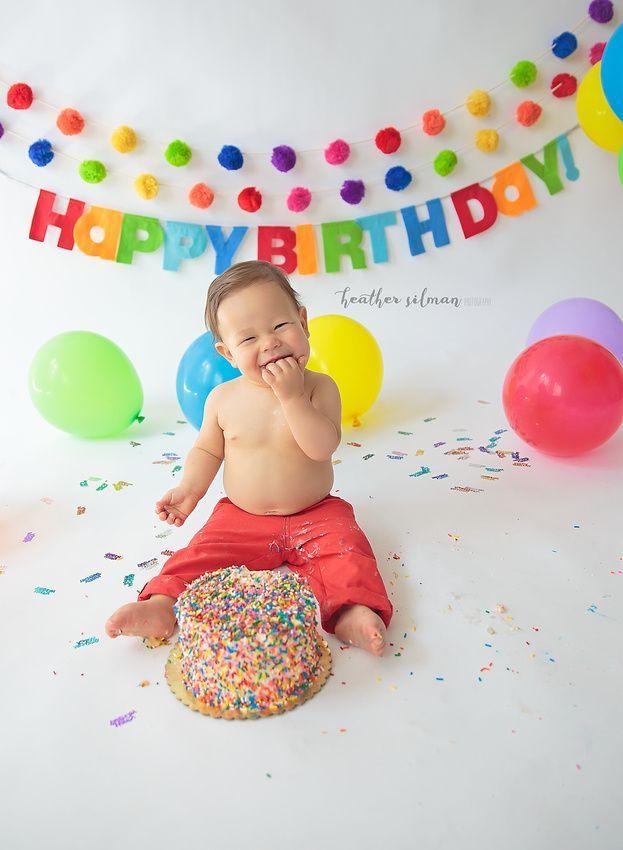 First Birthday Cake Smash Primary Colors Rainbow Colors Rainbow