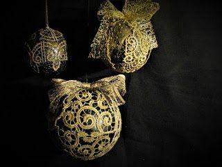 Ideas Art For Everyone Diy Joanna Wajdenfeld Christmas Ornaments With Gold Lace Gold Lace Christmas Ornaments Lace