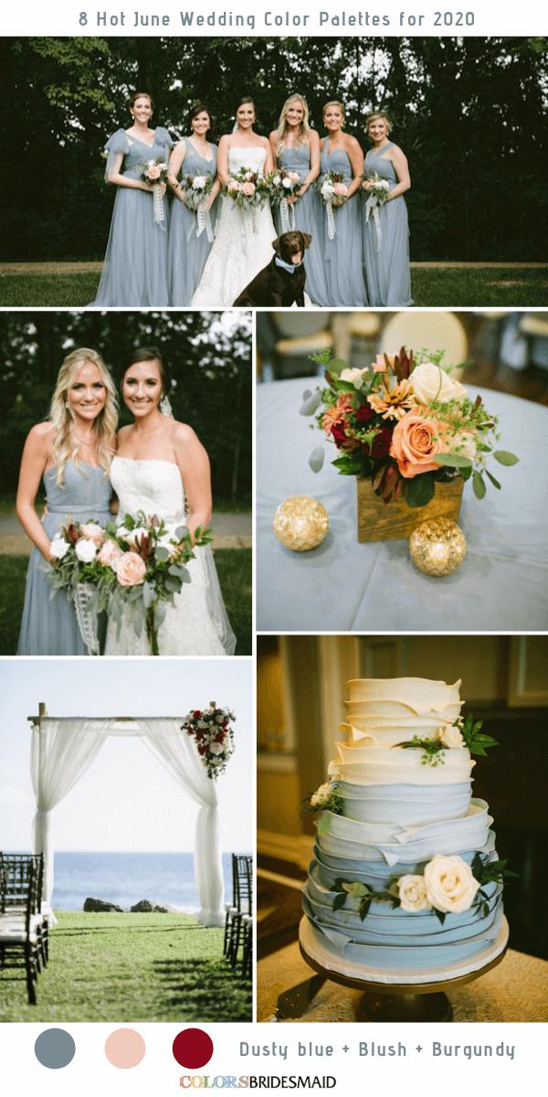 8 Hot June Wedding Color Palettes For 2020 June Wedding Colors Blue Wedding Centerpieces Wedding Color Palette Summer