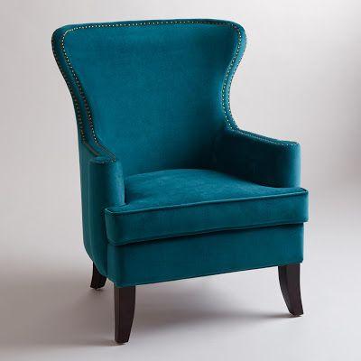 World Market Peacock Blue Chair Velvet Teal Chair