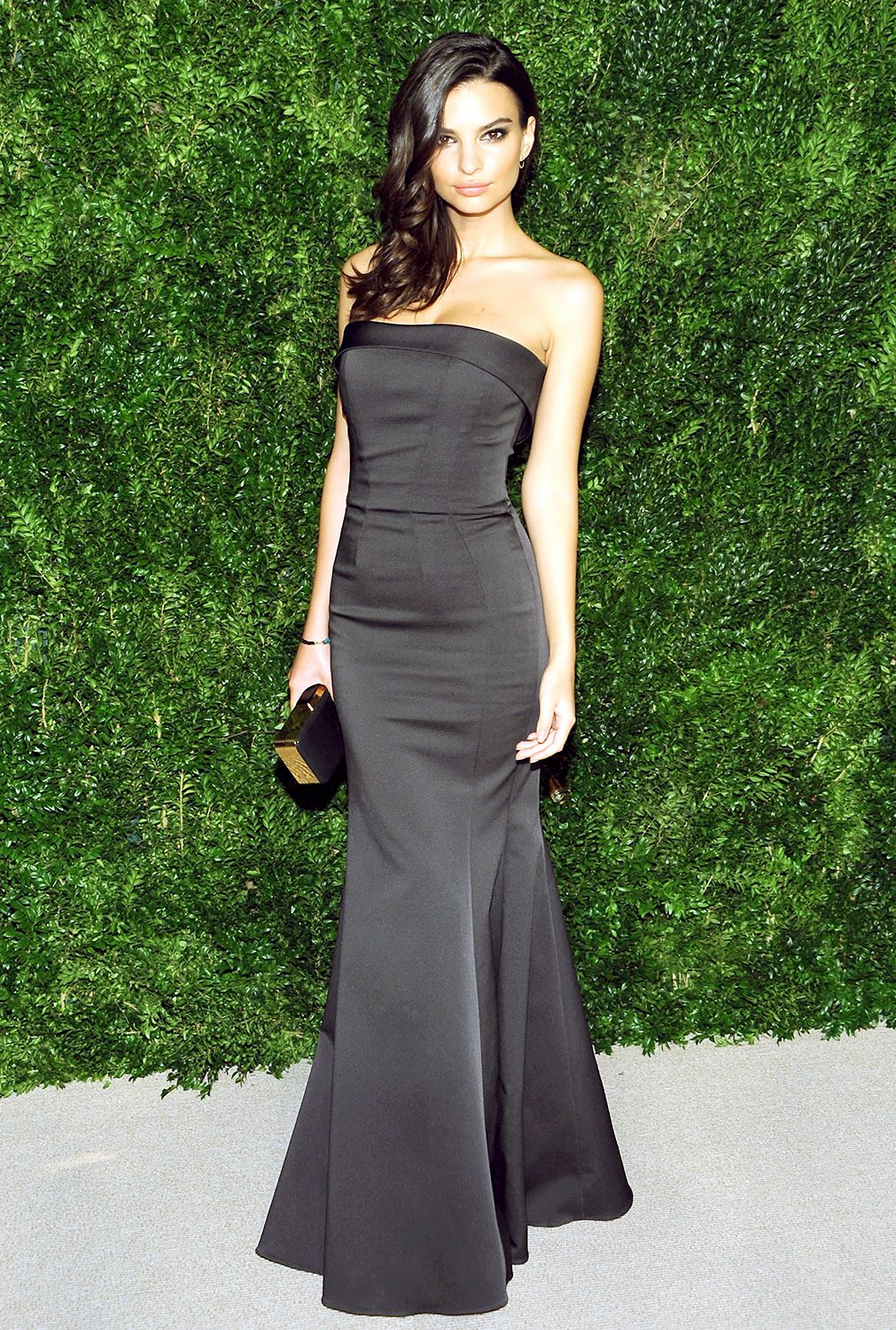 Emily Ratajkowski: 11th Annual CFDA/Vogue Fashion Fund Awards. The Gone Girl actress looked lovely in a slate dress with a slight mermaid tail by Zac Posen.