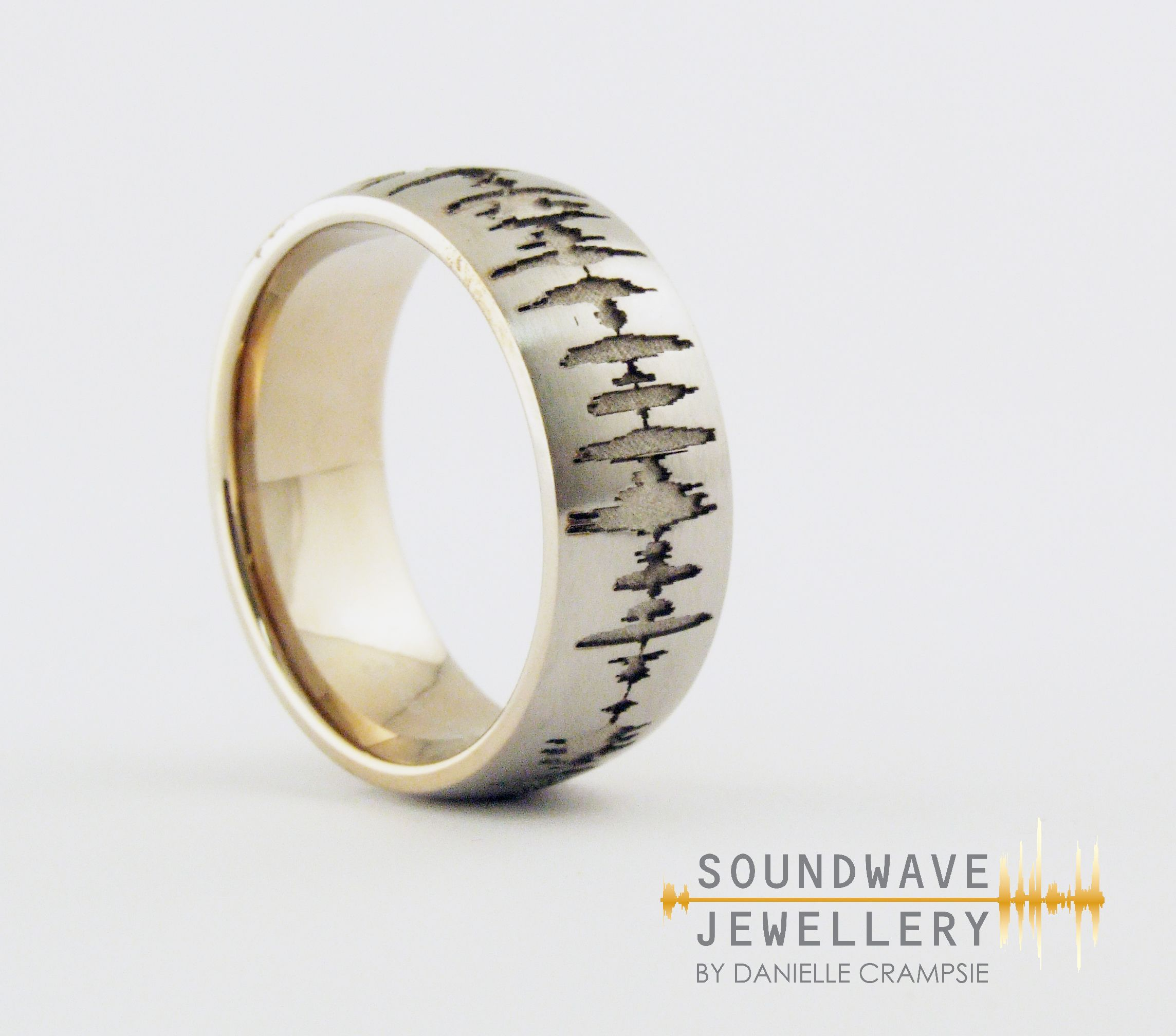 men's #custom #soundwave #wedding #ring. #create a #unique
