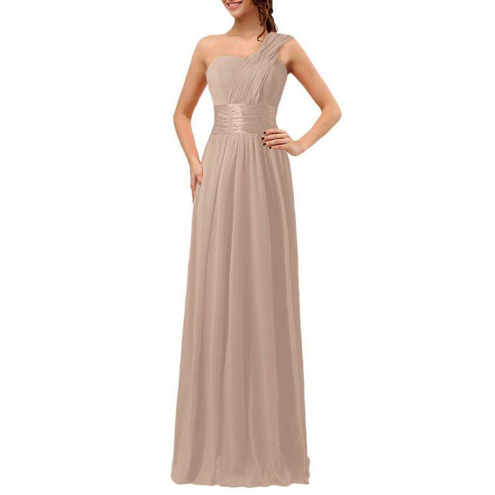 Yifumei womenus bridesmaid oneshoulder chiffon long dress xlarge
