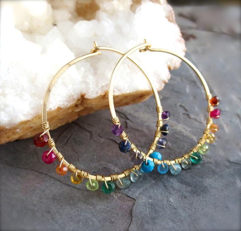 Photo of Rainbow Hoops Earrings. Gold Gemstone Hoop Earrings. Genuine | Etsy
