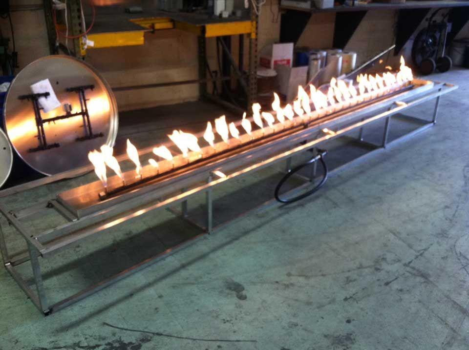 Custom 13 Offset Fire Pit Frame And Linear Crossfire Burner