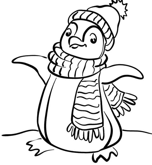 Penguin With A Sense Of Happy And Joyous Coloring Page Penguin
