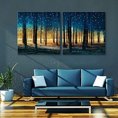 e-Home® gestrekt geleid canvas kunst bossen flitseffect leidde set van 2 - EUR € 90.90