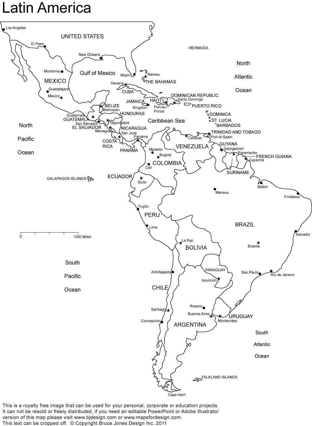 Free Blank Map Of North And South America Latin America South - South america capitals map quiz