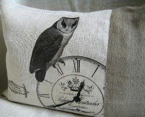 Burlap and linen cushion