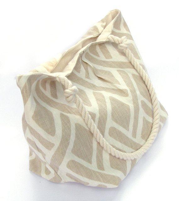 Tan and White Diamond Print Tote Bag with by UnOriginalAmericain, $35.00