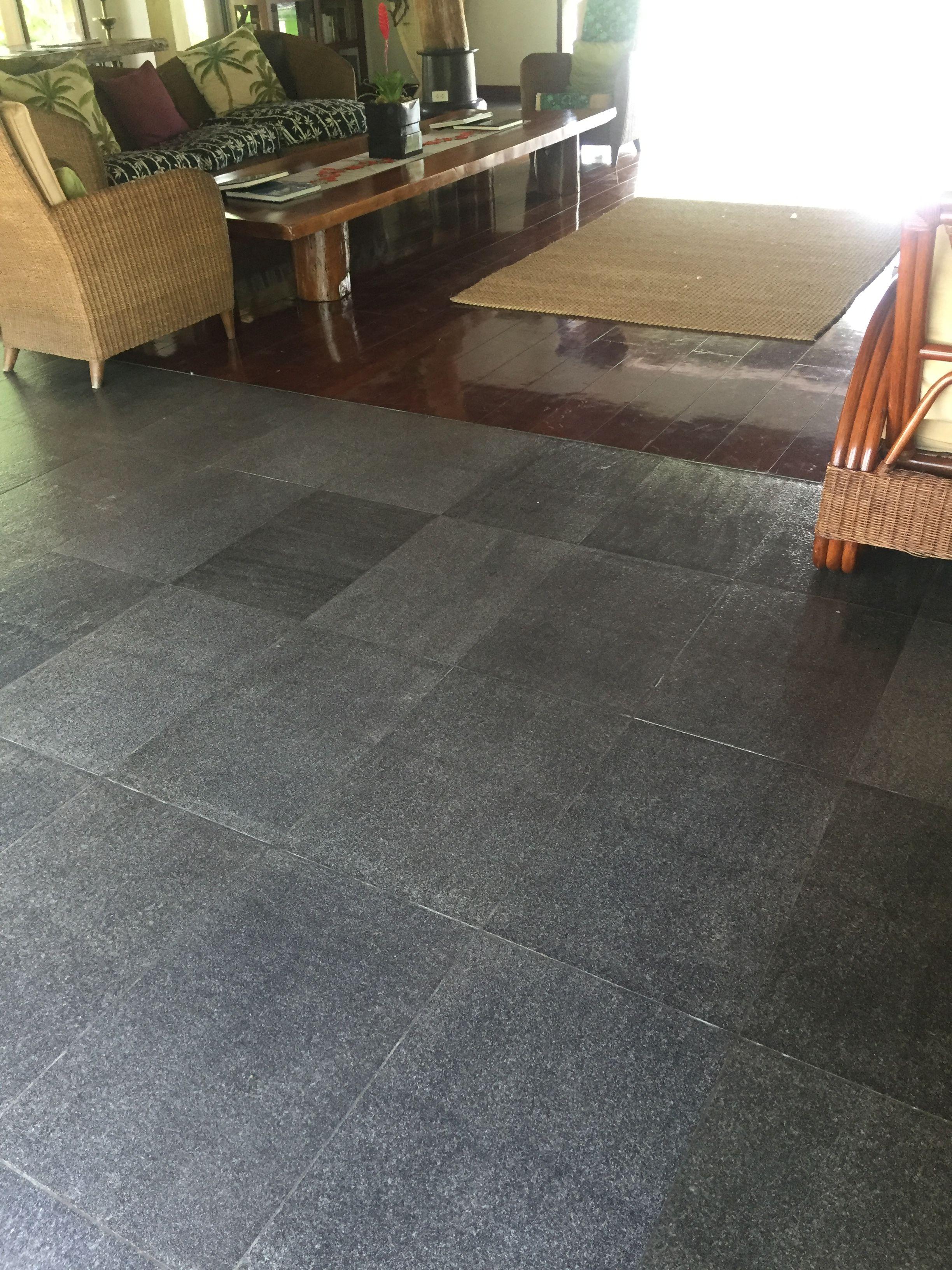 Lobby grey stone with wood