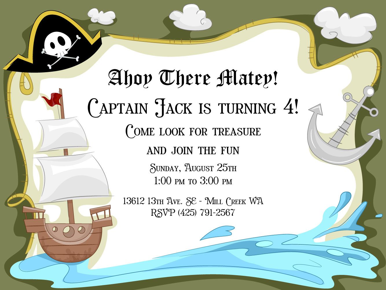 pirate birthday party invitations with matching thank you cards