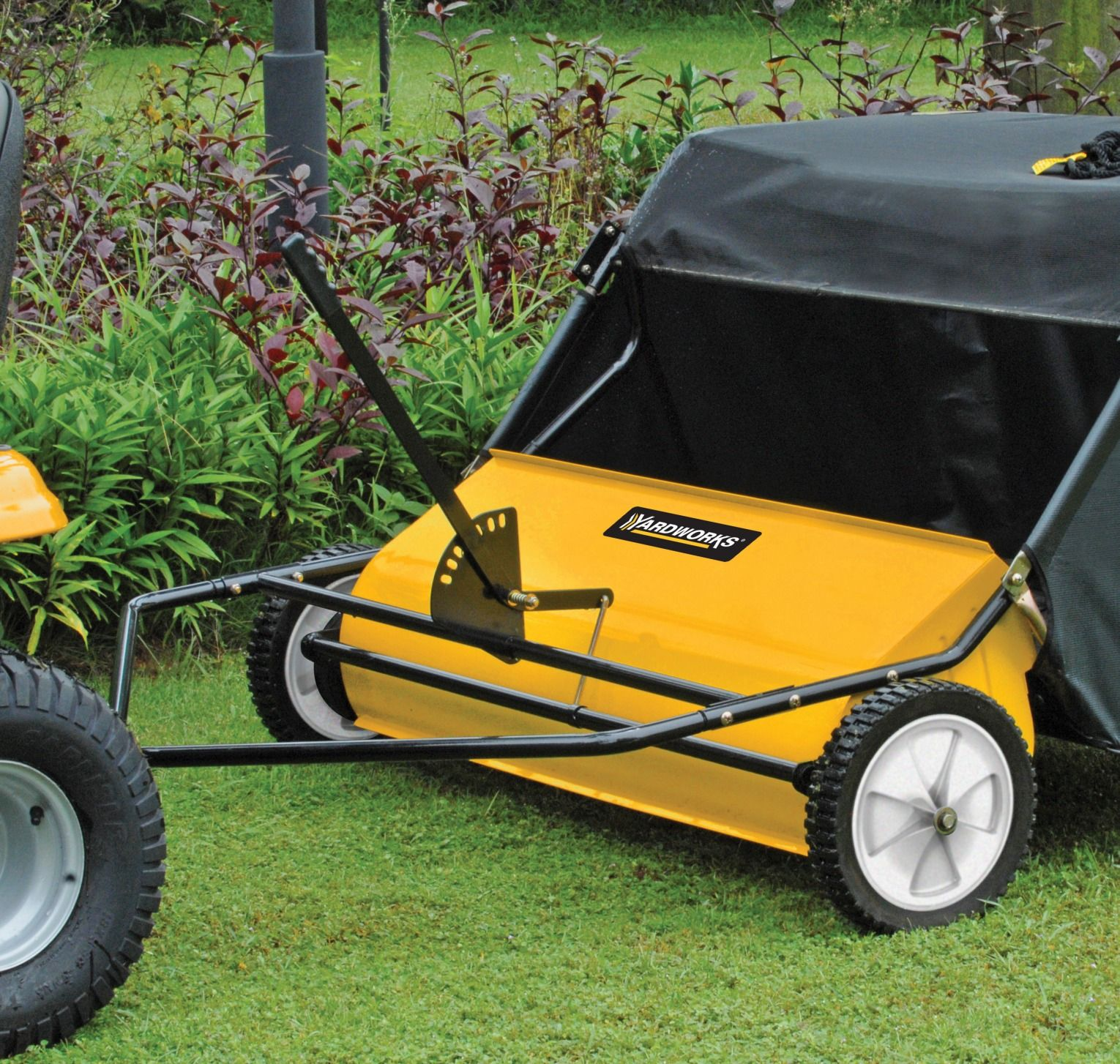 Keep Your Lawn In Line With A 42 Tow Behind Lawn Sweeper When Used With A Garden Tractor This Contraption Can Lawn Sweepers Landscaping Tools Outdoor Oasis