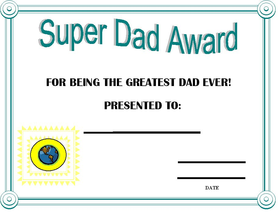 FatherS Day Certificates Printable  Day Award Certificates