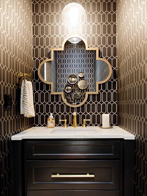 Best Black Gold Powder Room Design Ideas Remodel Pictures